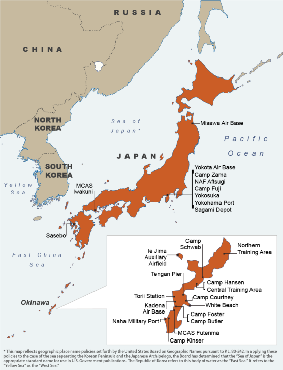 JapanUS Relations Issues For Congress EveryCRSReportcom - Us bases in japan map