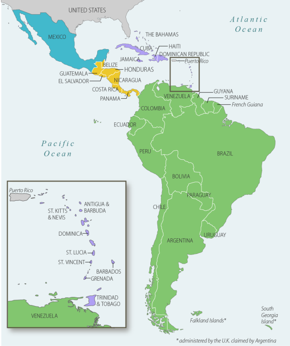 Latin america and the caribbean issues in the 115th congress map of latin america and the caribbean publicscrutiny Images