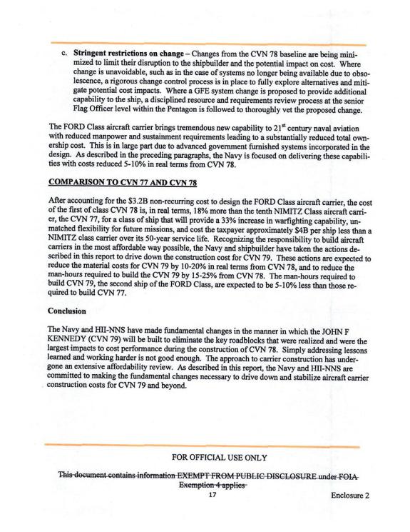 Navy Ford Cvn 78 Class Aircraft Carrier Program Background And