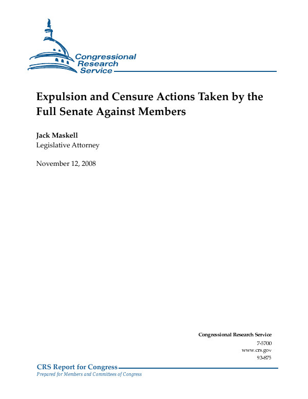 Expulsion and Censure Actions Taken by the Full Senate
