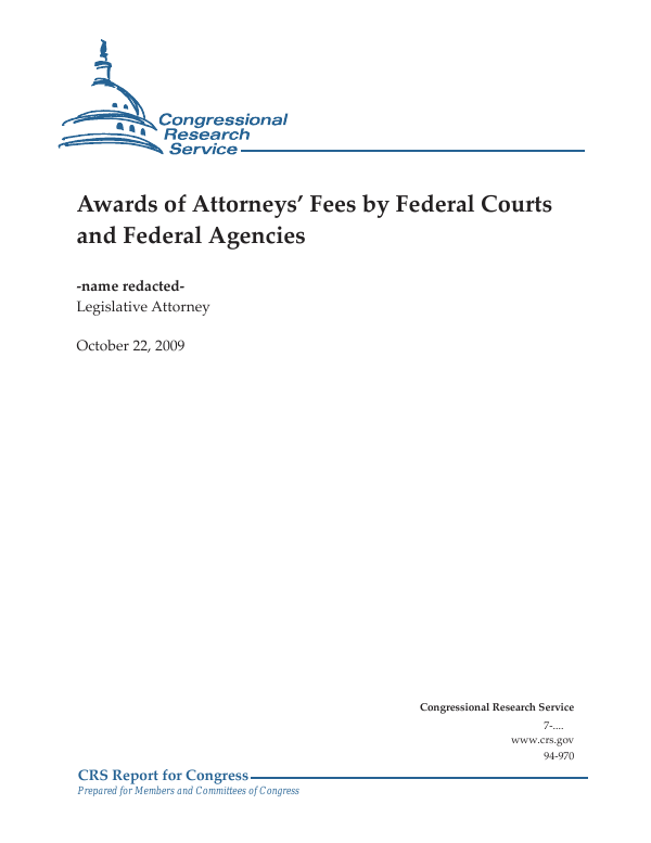 Awards of Attorneys' Fees by Federal Courts and Federal