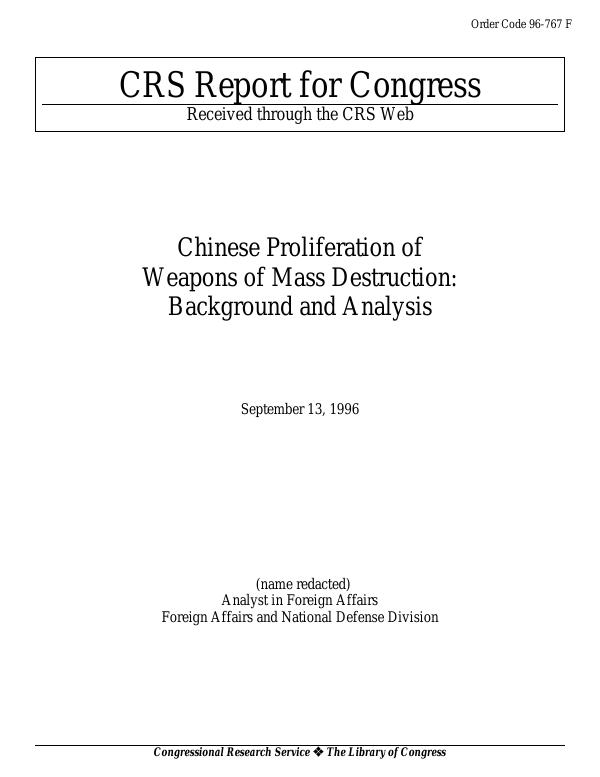 Chinese Proliferation of Weapons of Mass Destruction