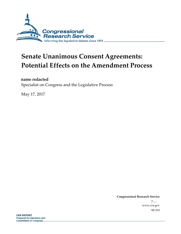 Senate Unanimous Consent Agreements Potential Effects On The Amendment Process Everycrsreport Com