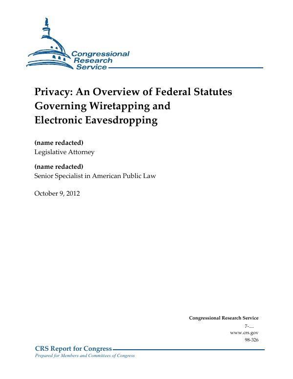 Privacy: An Overview of Federal Statutes Governing