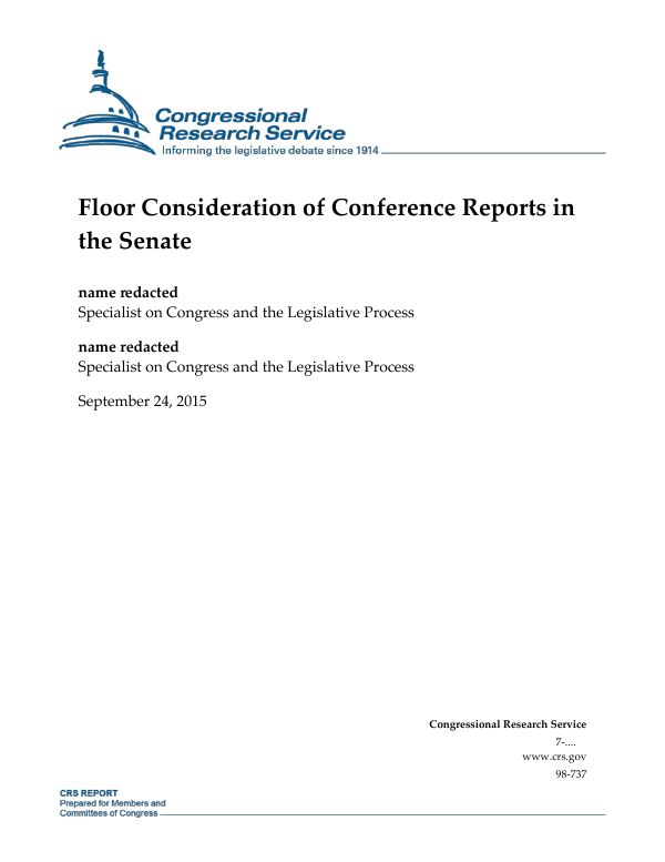 Floor Consideration Of Conference Reports In The Senate