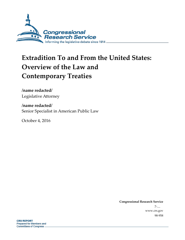 Extradition To and From the United States: Overview of the