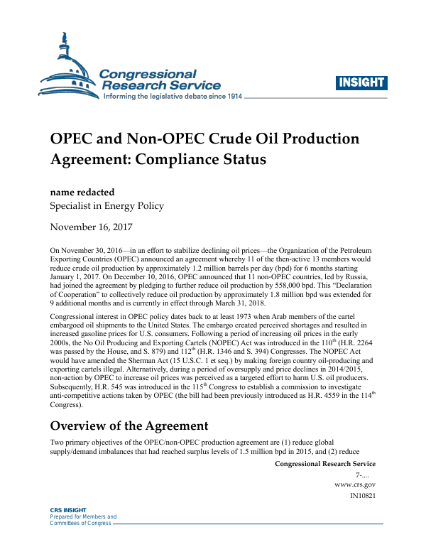 Opec And Non Opec Crude Oil Production Agreement Compliance Status
