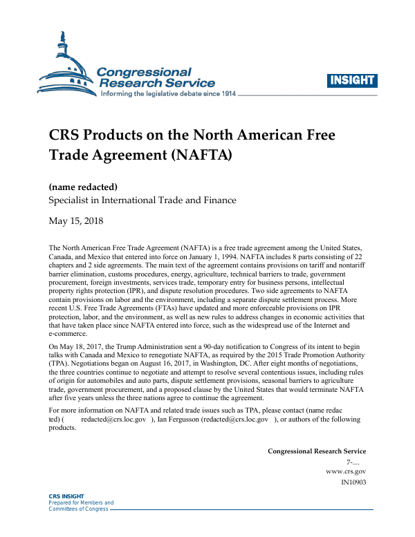 Crs Products On The North American Free Trade Agreement Nafta