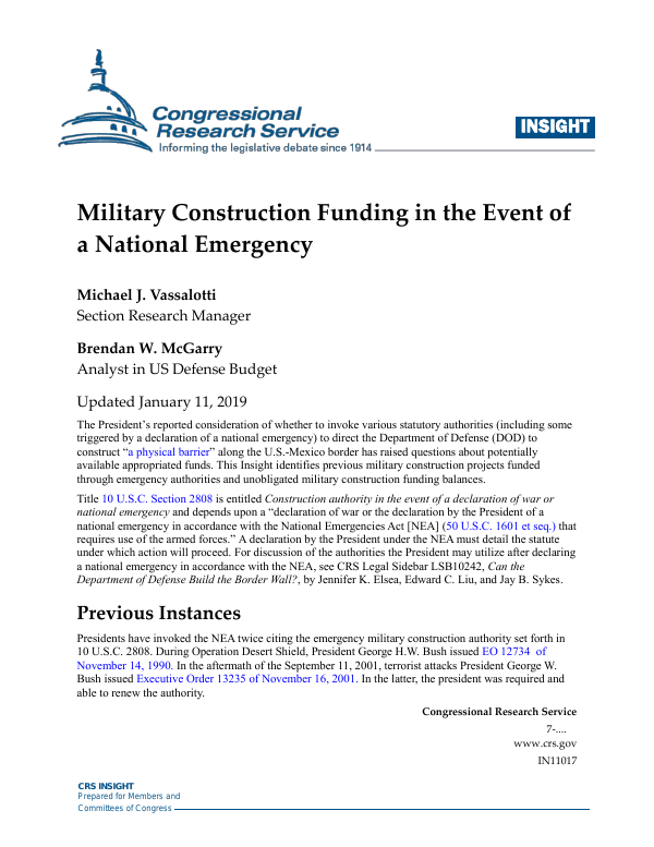 Military Construction Funding in the Event of a National