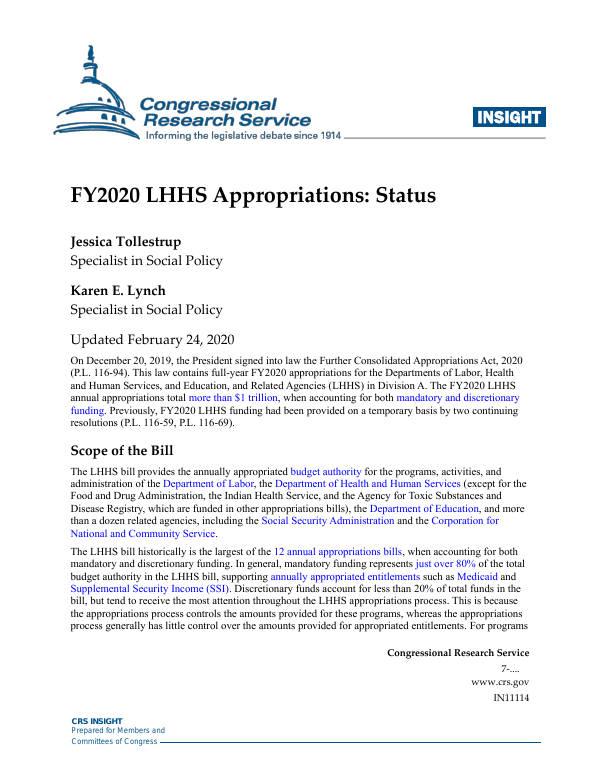 Further Continuing Appropriations Act, 2020, and Further Health Extenders Act of 2019
