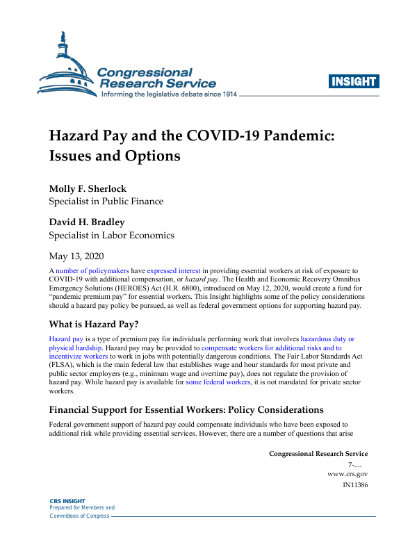 Hazard Pay And The Covid 19 Pandemic Issues And Options Everycrsreport Com
