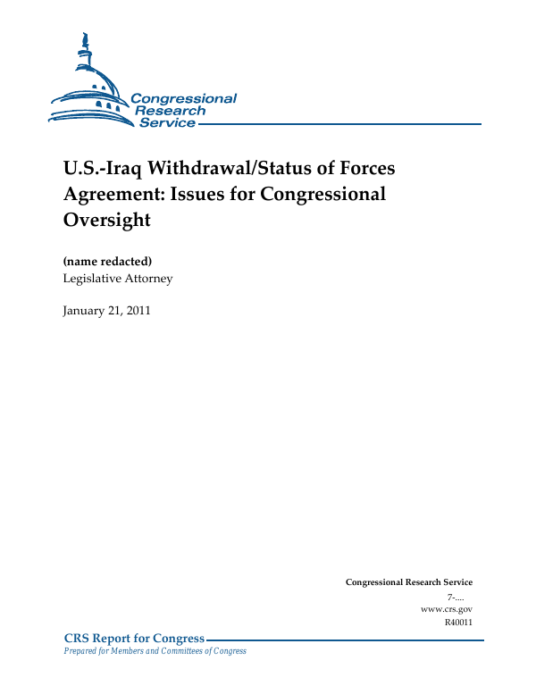 U S Iraq Withdrawal Status Of Forces Agreement Issues For