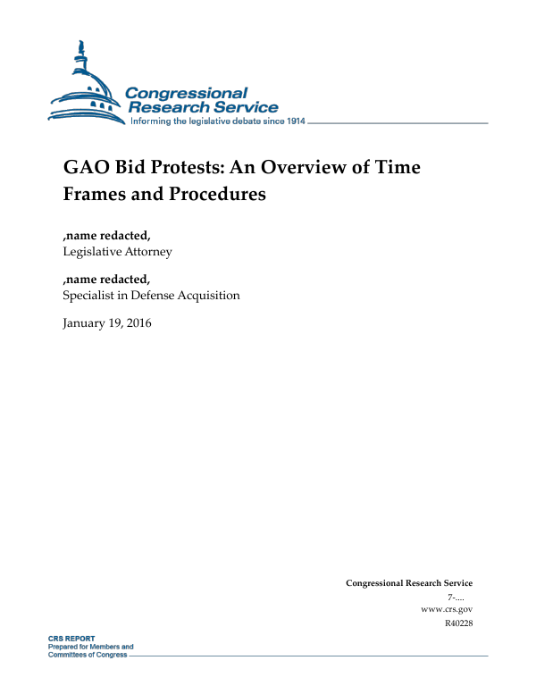 Gao Recommends Legislation Re Notice Of >> Gao Bid Protests An Overview Of Time Frames And Procedures