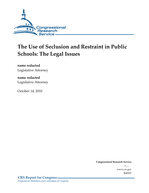 New Report On State Laws On Seclusion >> The Use Of Seclusion And Restraint In Public Schools The Legal