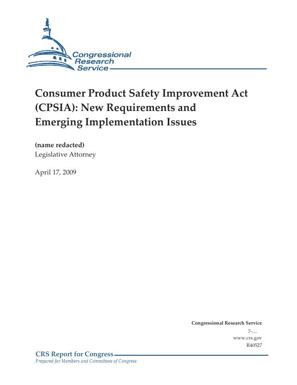 Consumer Product Safety Improvement Act Cpsia New Requirements