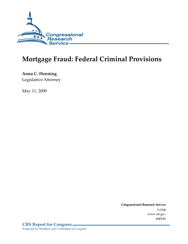 Mortgage Fraud Federal Criminal Provisions Everycrsreport
