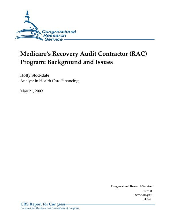medicares recovery audit contractor rac program background and issues everycrsreportcom