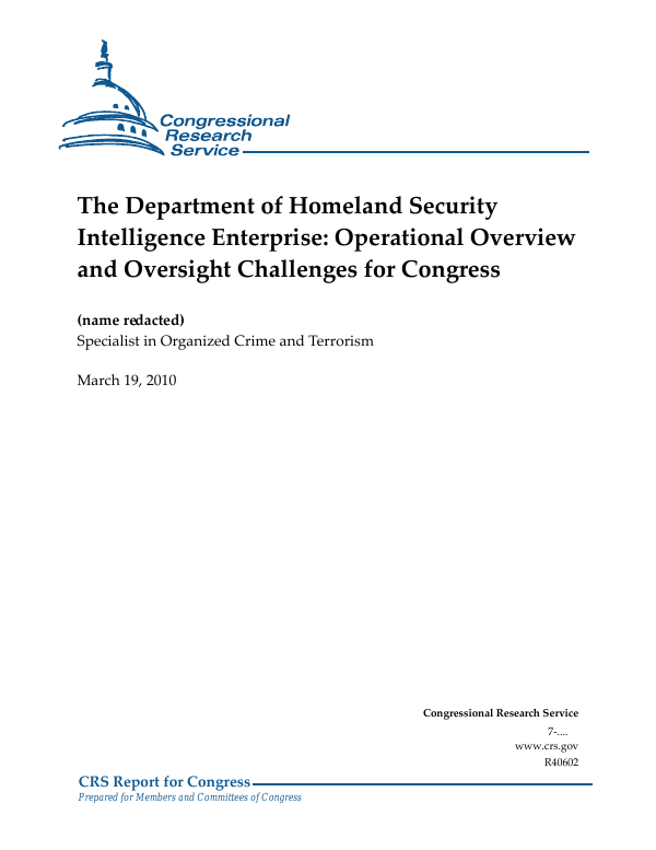 The Department of Homeland Security Intelligence Enterprise
