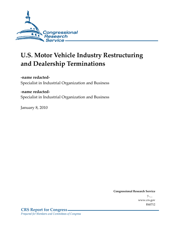 U S  Motor Vehicle Industry Restructuring and Dealership