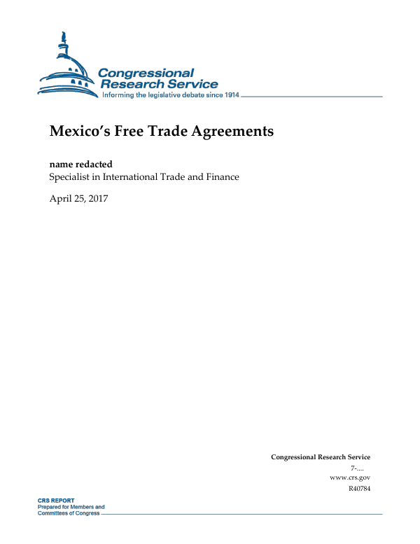 Mexicos Free Trade Agreements Everycrsreport