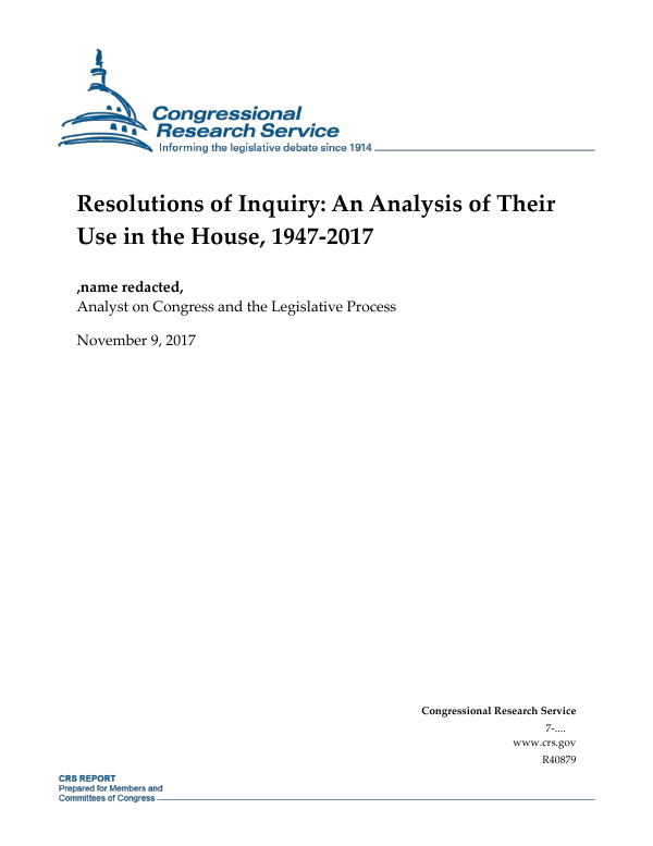 R40879 resolutions of inquiry an analysis of their use in the house, 1947