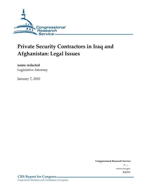 Private Security Contractors in Iraq and Afghanistan: Legal