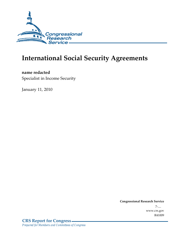 International Social Security Agreements Everycrsreport
