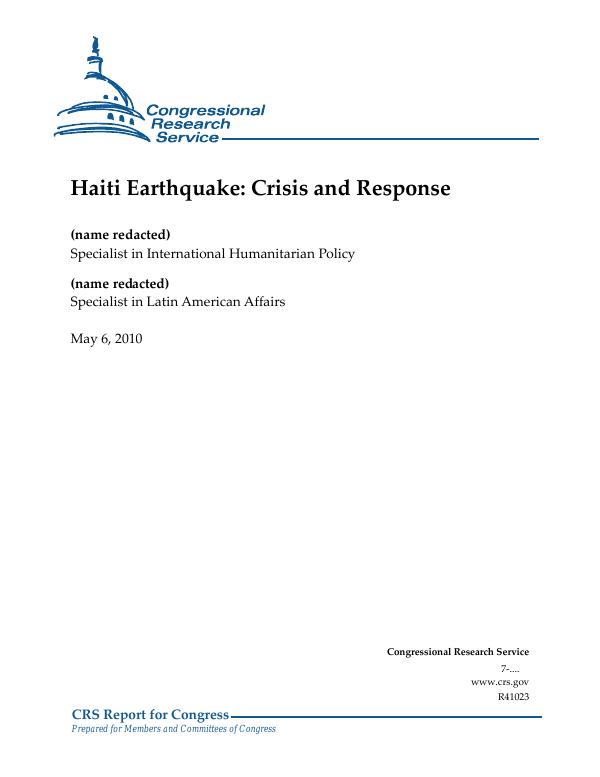 Haiti Earthquake: Crisis and Response - EveryCRSReport com