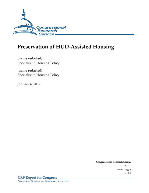 Preservation Of Hud Assisted Housing Everycrsreport