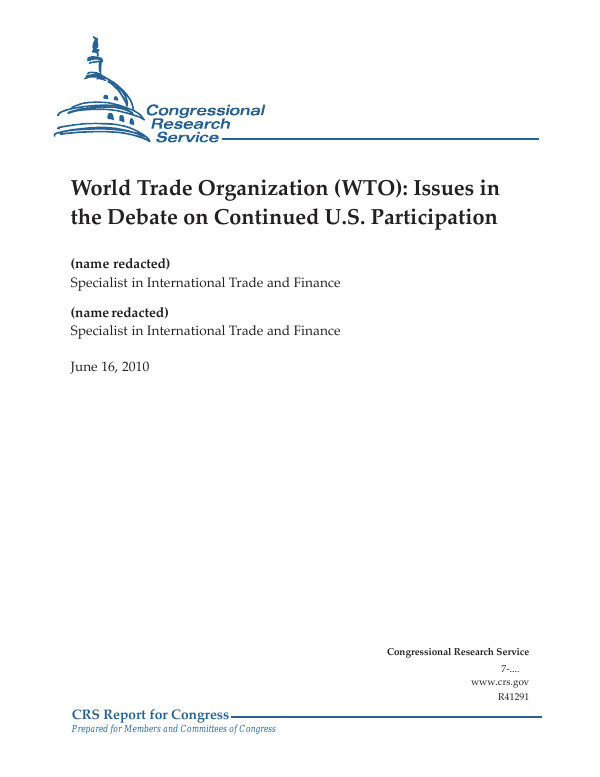 World Trade Organization Wto Issues In The Debate On Continued