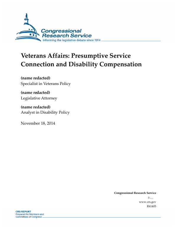 Veterans Affairs: Presumptive Service Connection and