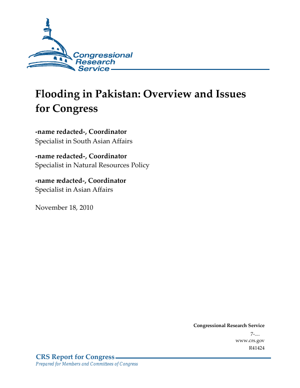Flooding in Pakistan: Overview and Issues for Congress