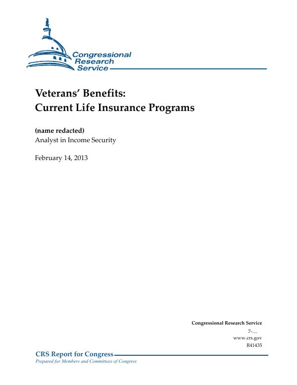 Veterans' Benefits: Current Life Insurance Programs - EveryCRSReport com