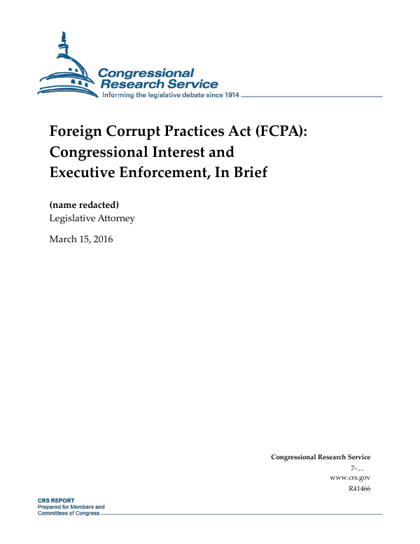 Foreign Corrupt Practices Act Fcpa Congressional Interest