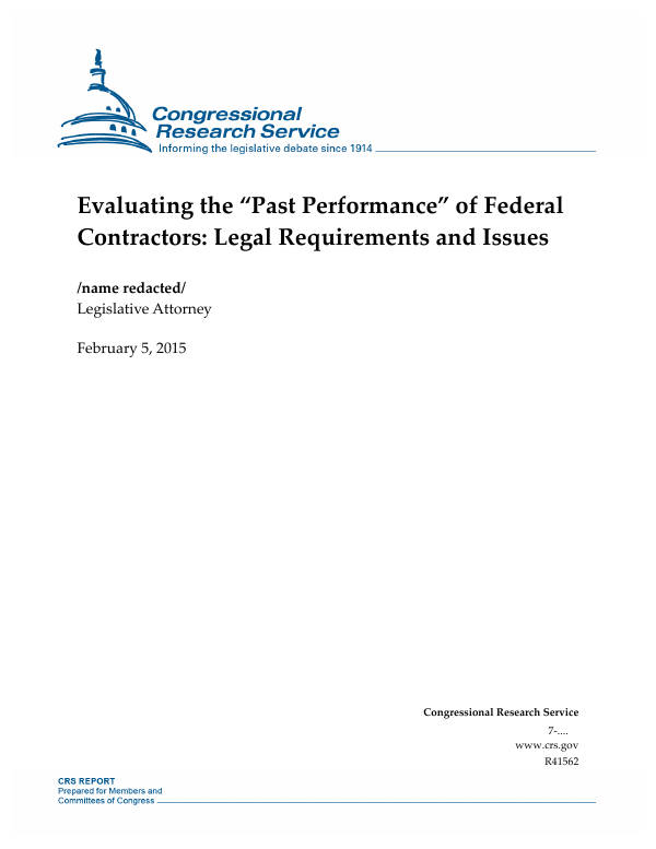 "Evaluating the ""Past Performance"" of Federal Contractors: Legal"