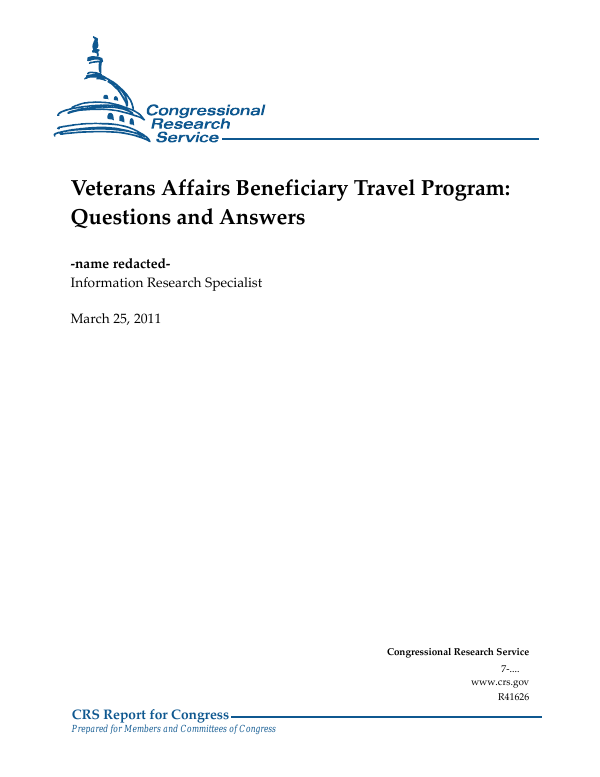 Veterans Affairs Beneficiary Travel Program: Questions and Answers