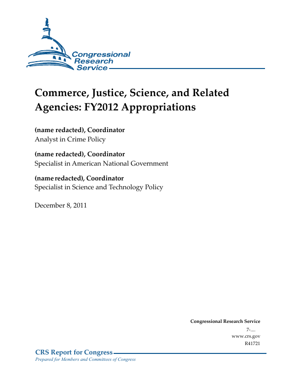 Commerce Justice Science And Related Agencies Fy2012 Appropriations Everycrsreport Com