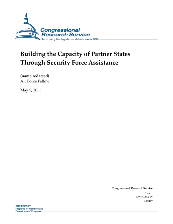 building the capacity of partner states through security force assistance