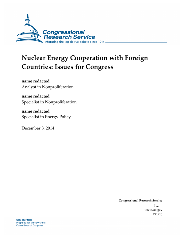 Nuclear Energy Cooperation with Foreign Countries: Issues ...