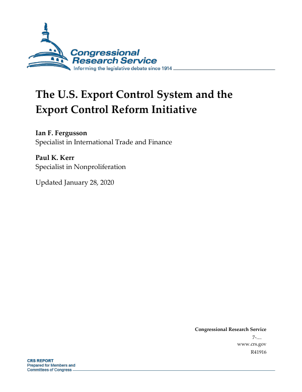 The Us Export Control System And The Export Control Reform