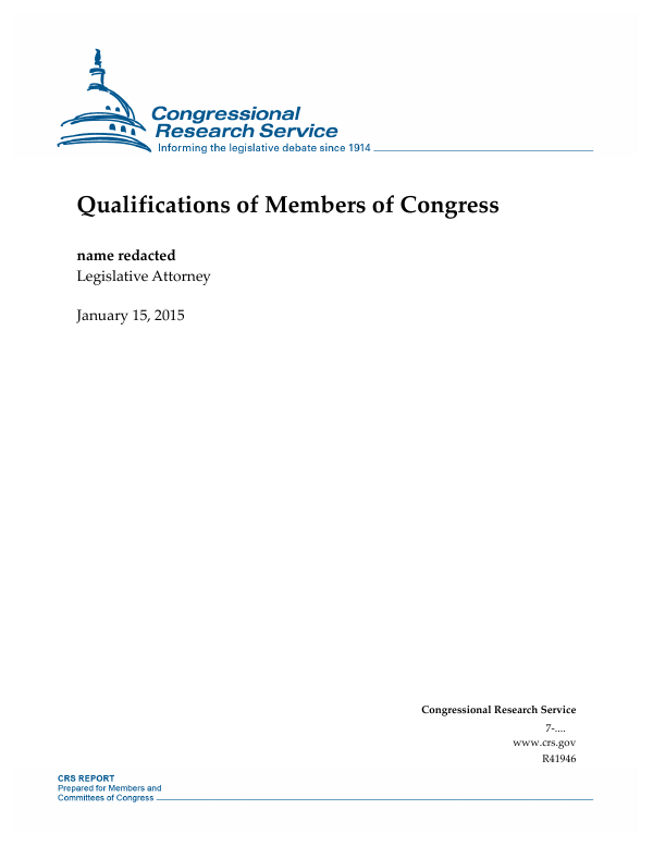 Congress Eyes Changes To Able Act >> Qualifications Of Members Of Congress Everycrsreport Com