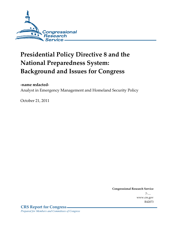 presidential policy directive 8 and the national