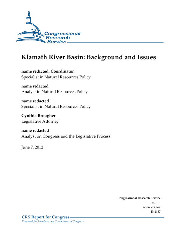Klamath River Basin Background And Issues Everycrsreport
