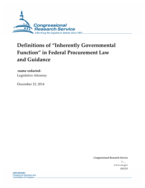 "Definitions of ""Inherently Governmental Function"" in Federal"