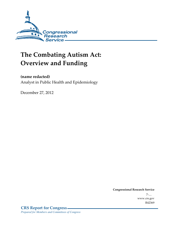 Department Of Defense Autism Research Program Funding >> The Combating Autism Act Overview And Funding Everycrsreport Com