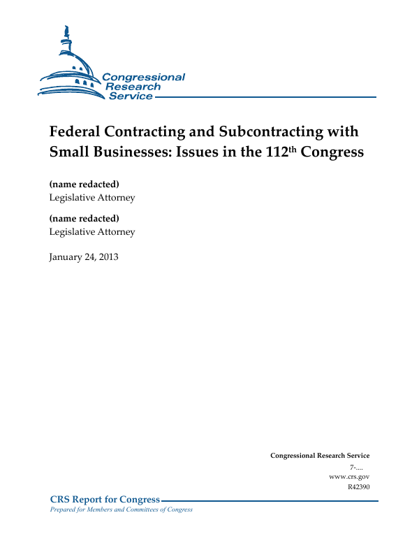 Federal Contracting and Subcontracting with Small Businesses: Issues