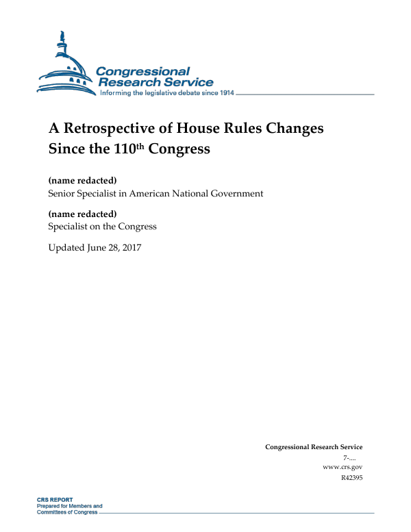 The Retrospective Testimony Rule >> A Retrospective Of House Rules Changes Since The 110th Congress