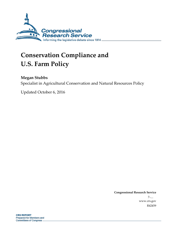 Conservation Compliance and U.S. Farm Policy