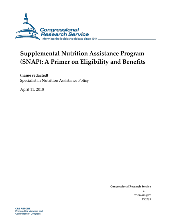 Supplemental Nutrition Assistance Program SNAP A Primer On Eligibility And Benefits