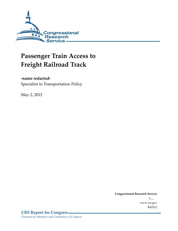 Passenger Train Access to Freight Railroad Track - EveryCRSReport com